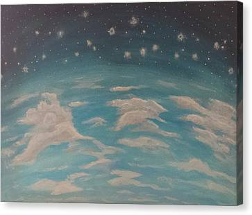 Canvas Print featuring the painting Sitting On Top Of The World by Thomasina Durkay