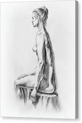 Figure Study Canvas Print - Sitting Woman Study by Irina Sztukowski