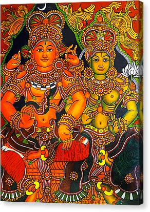 Siva And Parvathy Canvas Print