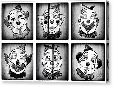Six Clowns Canvas Print by John Rizzuto