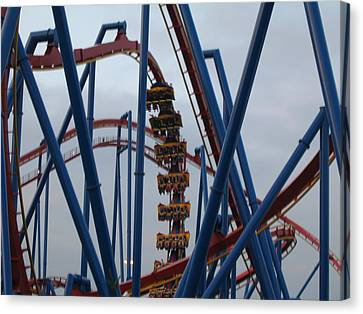 Six Flags Great Adventure - Medusa Roller Coaster - 12125 Canvas Print