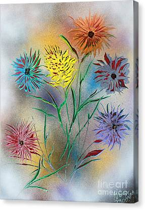 Canvas Print featuring the painting Six Flowers by Greg Moores