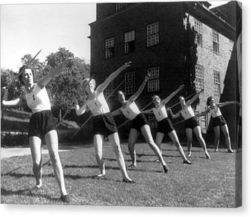 Javelin Canvas Print - Six Girls Throwing Javelins by Underwood Archives