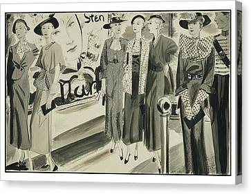 Six Ladies Wearing Summer Clothing Canvas Print by Jean Pages