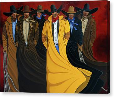 Contemporary Cowgirl Canvas Print - Six Pac by Lance Headlee