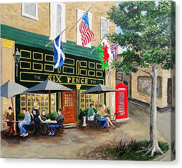 Six Pence Pub Canvas Print by Marilyn Zalatan