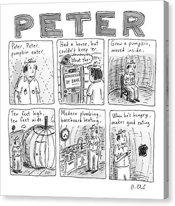 Peaches Canvas Print - Six Rhyming Panels About A Man Who Moves by Roz Chast