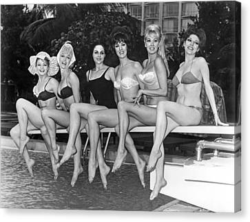 Medium Group Of People Canvas Print - Six Showgirls At The Pool by Underwood Archives