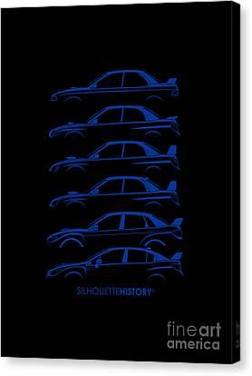 Subaru Impreza Canvas Print - Six Stars Silhouettehistory by Gabor Vida