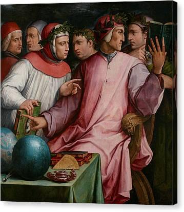 Six Tuscan Poets Canvas Print by Giorgio Vasari