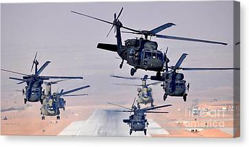 Six Uh-60l Black Hawks And Two Ch-47f Chinooks Canvas Print by Paul Fearn