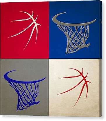 Sixers Ball And Hoop Canvas Print by Joe Hamilton