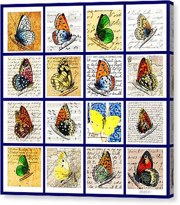 Canvas Print featuring the painting Sixteen Butterflies by Marian Cates
