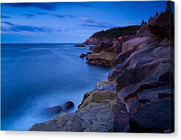 Sixty One Seconds In The Blue Hour Otter Cliffs Acadia National Park Canvas Print