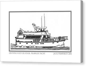 Sixtyfive Foot Defever Trawler Yacht Canvas Print by Jack Pumphrey