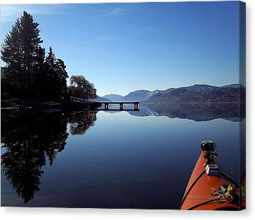 Skaha Lake Calm 2 Canvas Print by Guy Hoffman