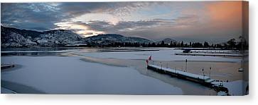 Skaha Lake Sunset Panorama 02-27-2014 Canvas Print by Guy Hoffman