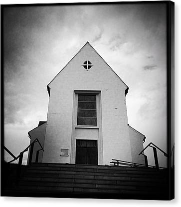 Skalholt Cathedral Iceland Europe Black And White Canvas Print by Matthias Hauser