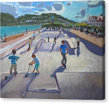 Skateboaders  Teignmouth Canvas Print by Andrew Macara
