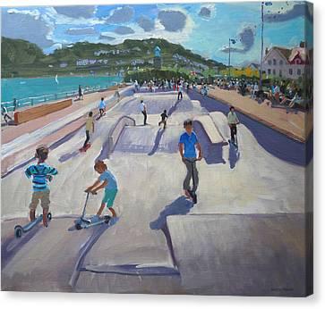 Skating Canvas Print - Skateboaders  Teignmouth by Andrew Macara