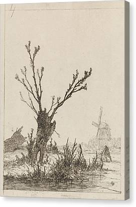City Scape Canvas Print - Skater With Sled In A Willow, Johannes Franciscus by Johannes Franciscus Hoppenbrouwers