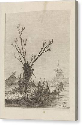 Skater With Sled Near A Willow, Print Maker Johannes Canvas Print by Johannes Franciscus Hoppenbrouwers