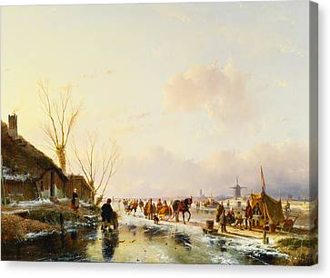 Skaters By A Booth On A Frozen River Canvas Print by Andreas Schelfhout