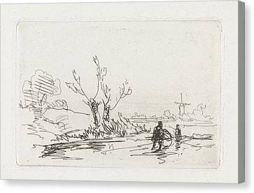 City Scape Canvas Print - Skaters With Willows, Johannes Franciscus Hoppenbrouwers by Johannes Franciscus Hoppenbrouwers