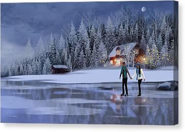 Skating At Christmas Night Canvas Print by Johanne Dauphinais