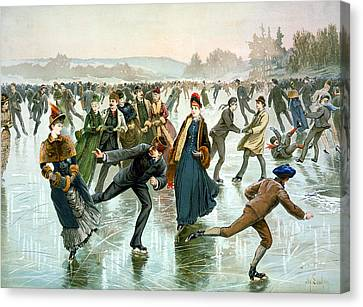 Skating Canvas Print by Hy Sandham