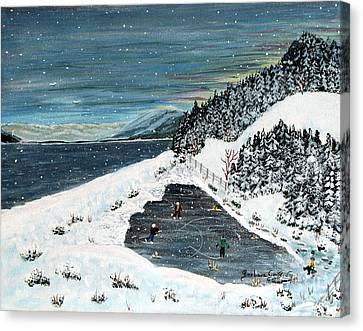 Skating On Pond Garden Canvas Print by Barbara Griffin
