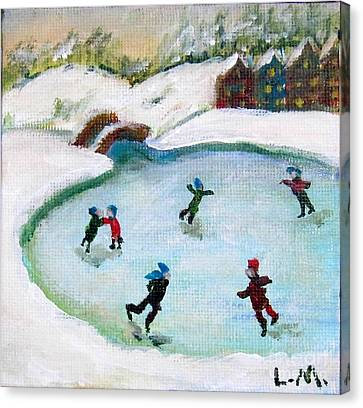 Skating Pond Canvas Print by Laurie Morgan