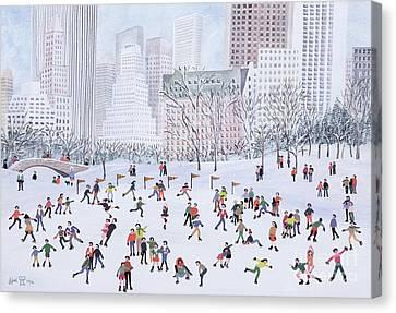 Skating Rink Central Park New York Canvas Print by Judy Joel
