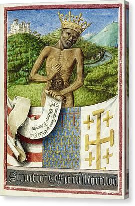 Skeleton; Arms Of Rene D'anjou Canvas Print