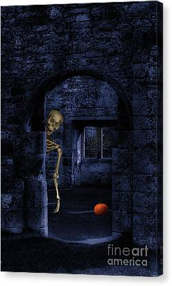 Skeleton At Halloween Canvas Print by Amanda Elwell