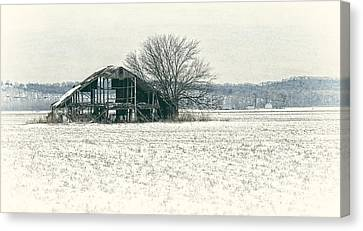 Skeleton Barn Canvas Print by Wayne Meyer