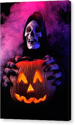 Frightening Canvas Print - Skeleton Holding Pumpkin  by Garry Gay