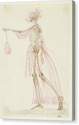 Skeleton In Pink Dress Canvas Print
