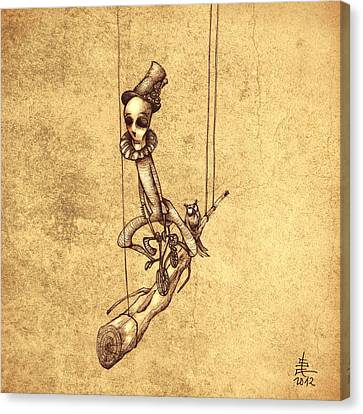 Skeleton On Cycle Canvas Print by Autogiro Illustration