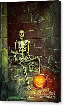 Ghostly Canvas Print - Skeleton On The Steps by Amanda Elwell