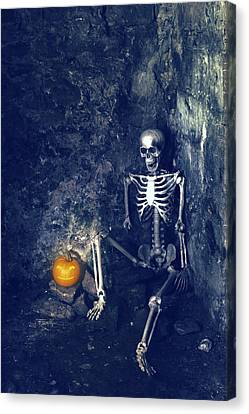Skeleton With Jack O Lantern Canvas Print by Amanda Elwell