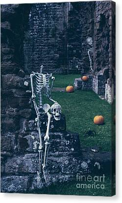 Ghostly Canvas Print - Skeletons In Old Abbey by Amanda Elwell