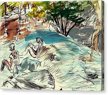 Sketch Artists In Central Park Canvas Print by Edward Ching