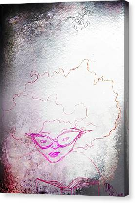 Sketch Of A Girl Reading Adventure Canvas Print by Dawna Morton