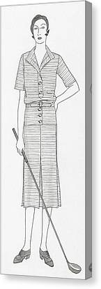 Sketch Of A Woman Holding Golf Club Canvas Print by Polly Tigue Francis