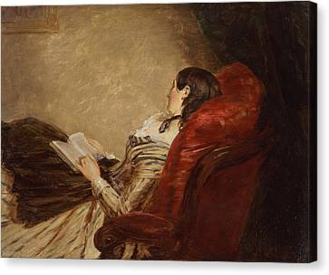 Sketch Of The Artists Wife Asleep Canvas Print by William Powell Frith