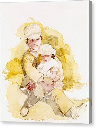 Sketch Of Two Children, C.1852 Canvas Print by Richard Redgrave