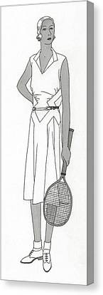 Sketch Of Woman In Tennis Dress Canvas Print by Polly Tigue Francis