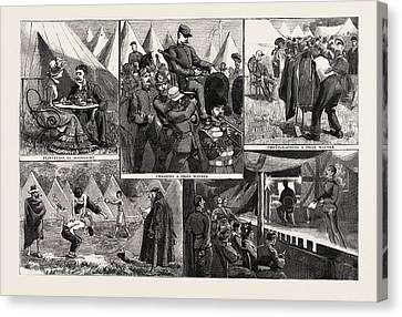Sketches At The Volunteer Camp, Wimbledon, Engraving 1884 Canvas Print