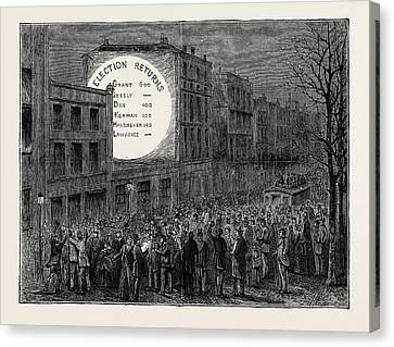 Sketches In New York During The Presidential Election Canvas Print by American School
